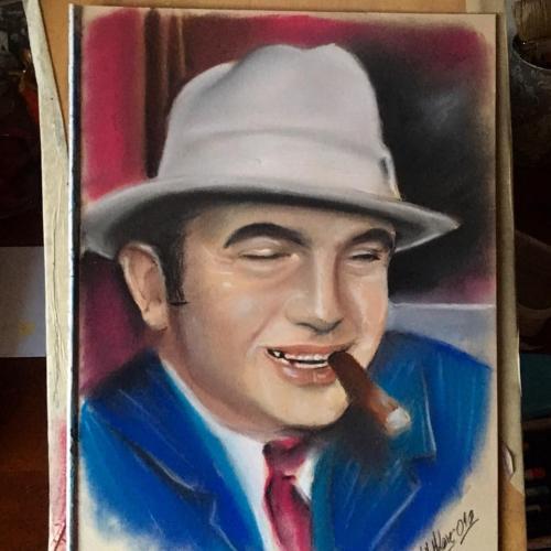 Portrét AlCaponeho podle černobílé fotografie.
