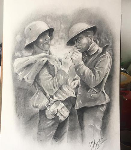 Společná cigareta. Okamžik první světové války.