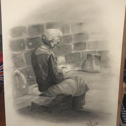 Kresba staré paní na Kampě, podle fotografie.